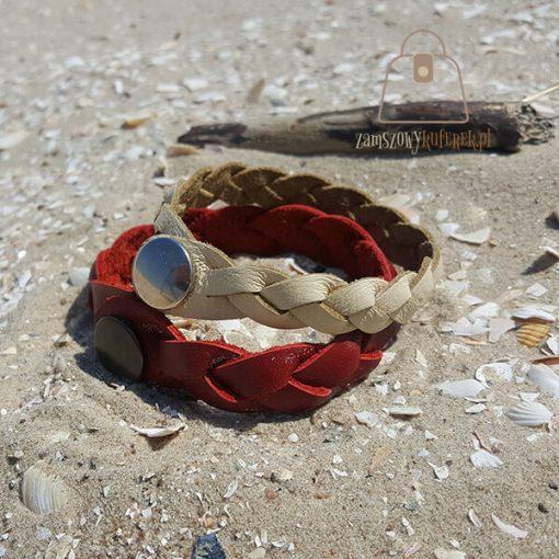 czerwona bransoletka skorzana dwie bok