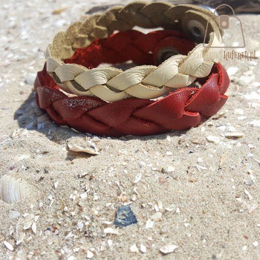 czerwona bransoletka skorzana dwie tył