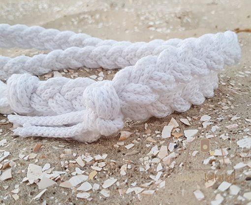 pasek pleciony sznur biały