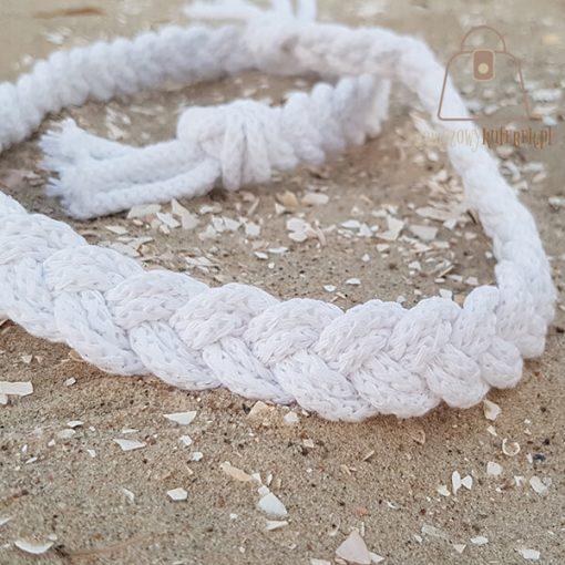 pasek pleciony sznur biały detal