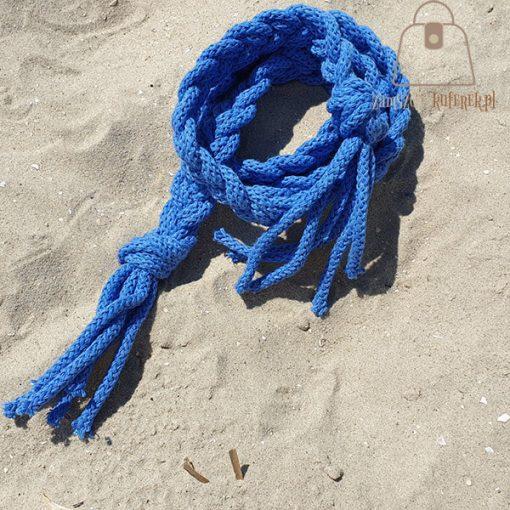 Pasek pleciony sznur niebieski boho