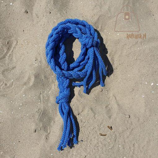 Pasek pleciony sznur niebieski detal