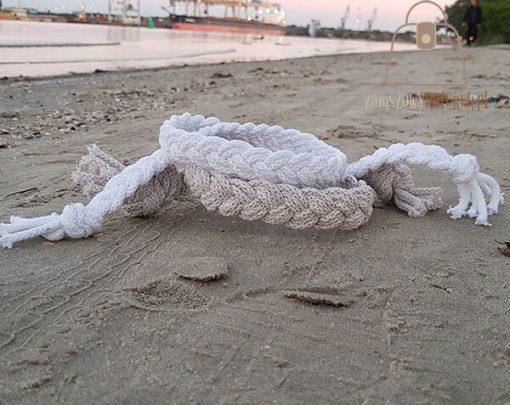 pasek pleciony sznur piasek