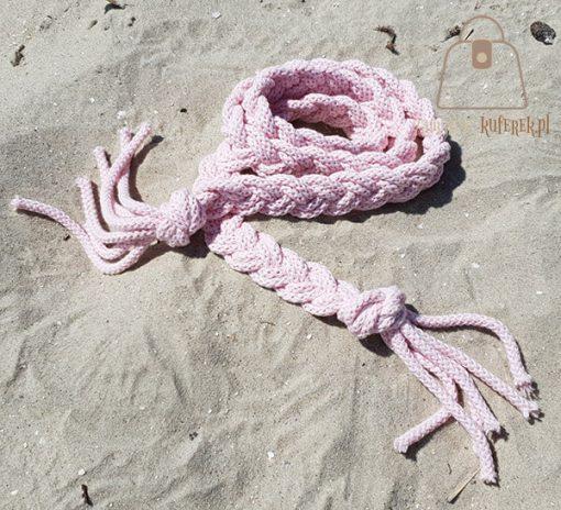 Pasek pleciony sznur różowy boho