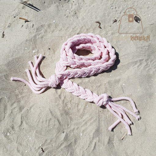 Pasek pleciony sznur różowy detal