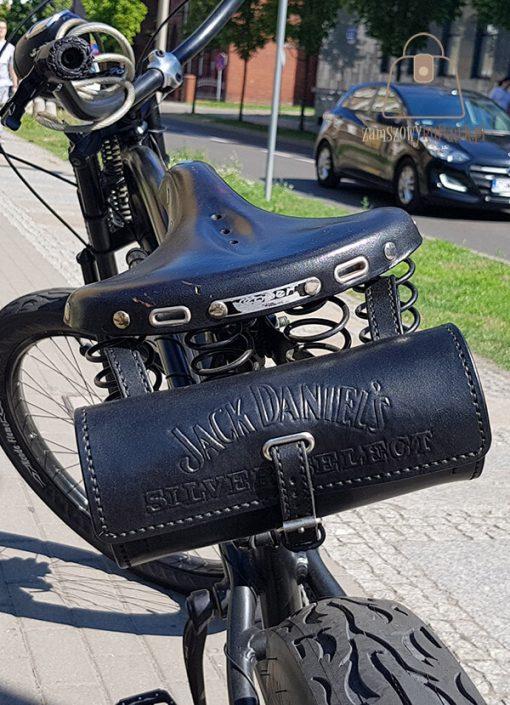 Skórzana sakwa rowerowa rower napis