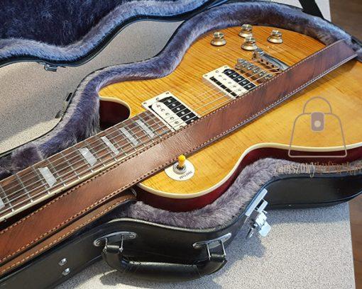 Skórzany pasek do gitary gładki gitara