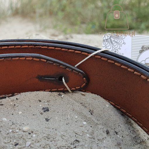 Skórzany pasek do gitary wewnątrz
