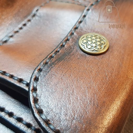 Skórzany portfel tłoczenie kieszonka nap