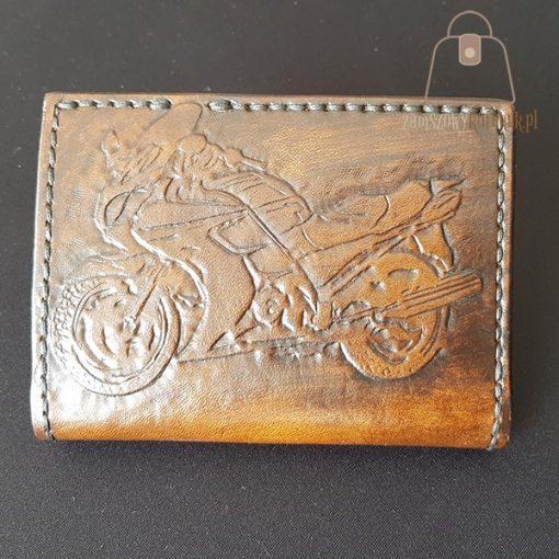 Skórzany portfel tłoczenie motocykl