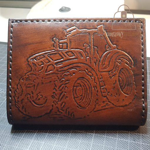 Skórzany portfel tłoczenie traktor