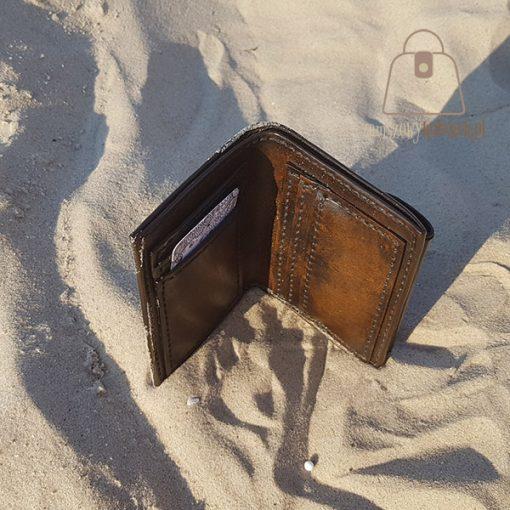 Skórzany portfel tłoczenie wzór 1 góra