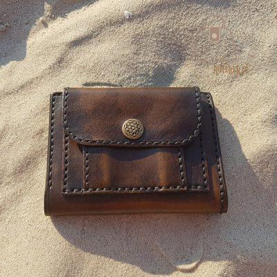 Skórzany portfel tłoczenie wzór 1 kieszonka