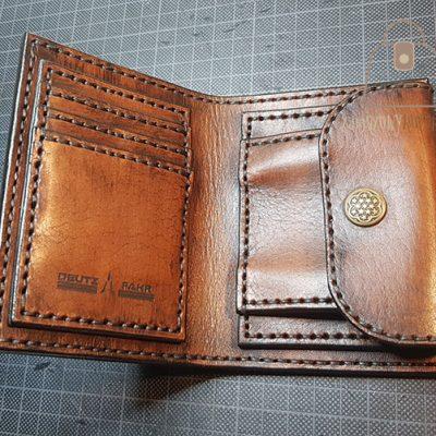 Skórzany portfel tłoczenie wzór 2