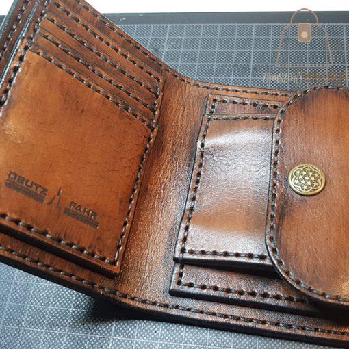 Skórzany portfel tłoczenie wzór 2 detal