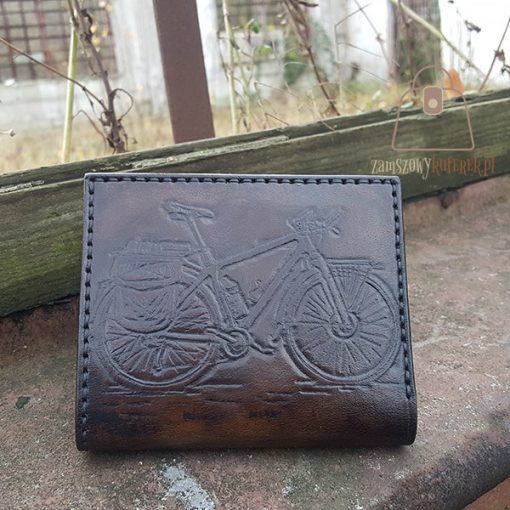 Skórzany portfel tłoczenie rower
