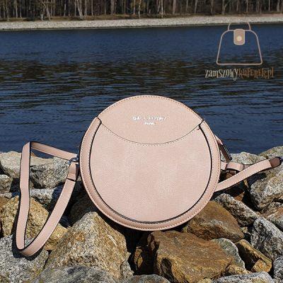 Pudrowa okrągła torebka