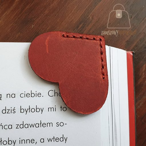 Skórzana zakładka do książki serce