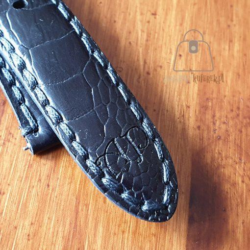 Skórzany pasek do zegarka łapa strusia logo