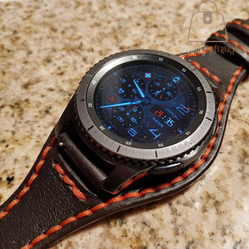 Skórzany pasek do smartwatch pomarańczowa nić