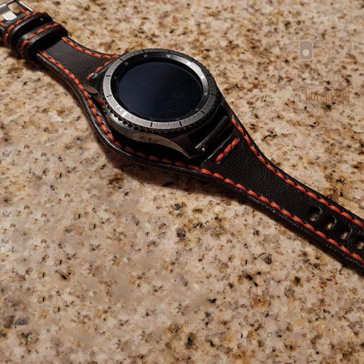 Skórzany pasek do smartwatch pomarańczowa nić gear
