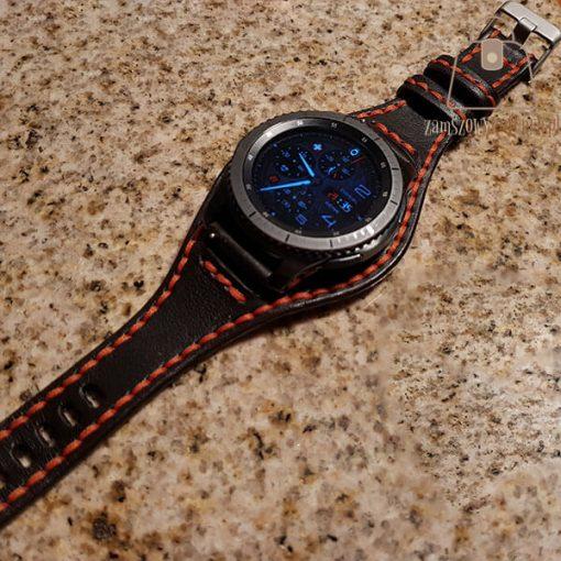 Skórzany pasek do smartwatch pomarańczowa nić zegar