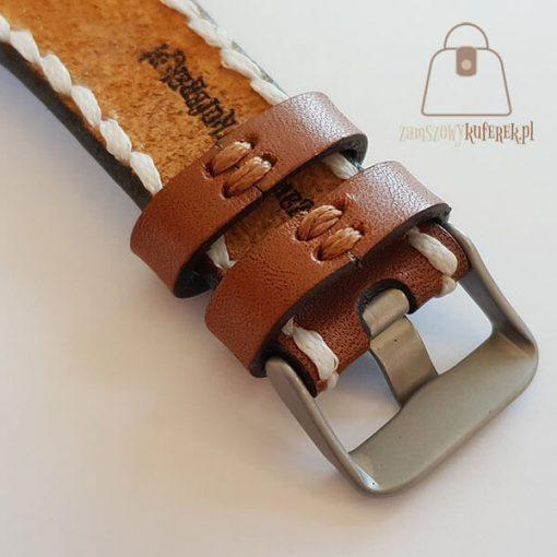 Skórzany pasek do zegarka biała nić tył
