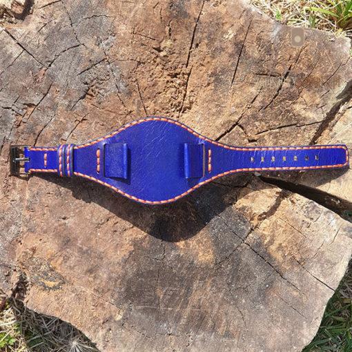 Skórzany pasek do zegarka niebieski pomarańczowa nić