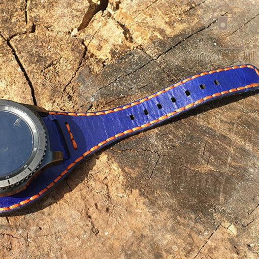 Skórzany pasek do zegarka niebieski pomarańczowa nić nić