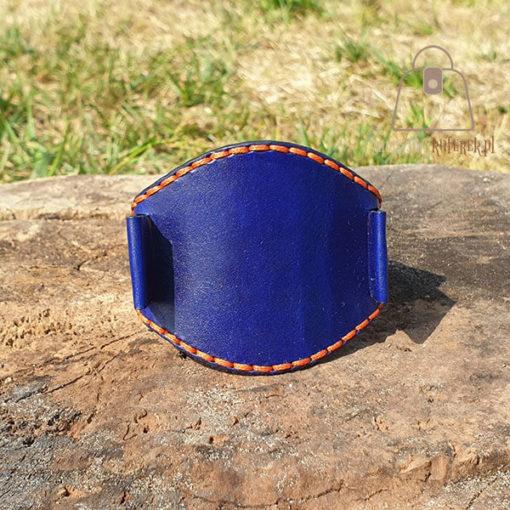 Skórzany pasek do zegarka niebieski pomarańczowa nić przód