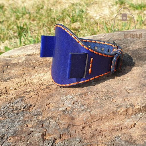 Skórzany pasek do zegarka niebieski pomarańczowa nić uszy