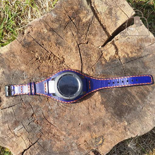 Skórzany pasek do zegarka niebieski pomarańczowa nić zegarek