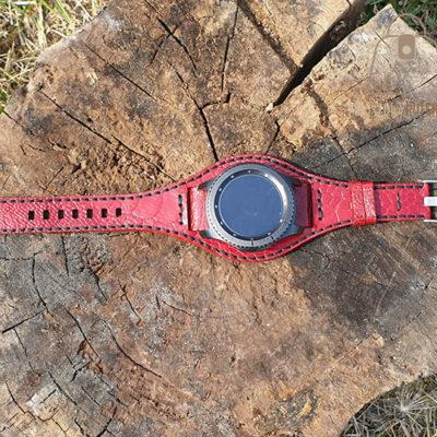 Skórzany pasek do zegarka struś czerwony