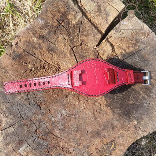 Skórzany pasek do zegarka struś czerwony całość