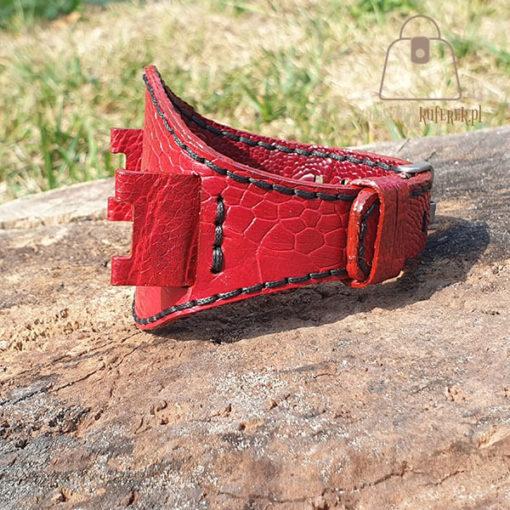 Skórzany pasek do zegarka struś czerwony nić
