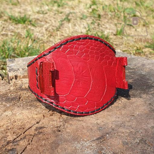 Skórzany pasek do zegarka struś czerwony przód