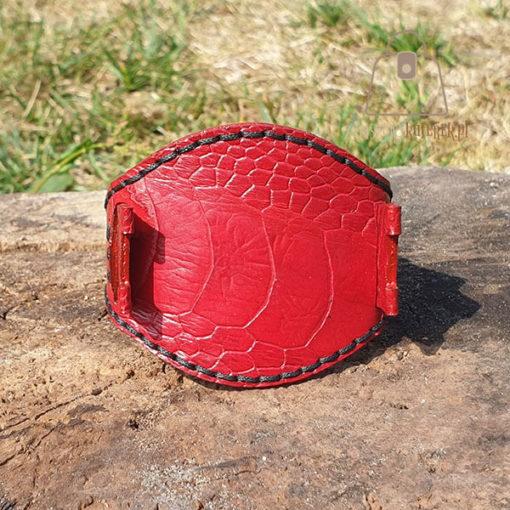 Skórzany pasek do zegarka struś czerwony przód dwa