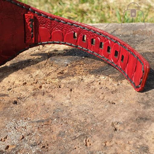 Skórzany pasek do zegarka struś czerwony szycie