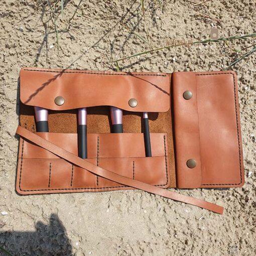 Skórzany piórnik organizer brązowy