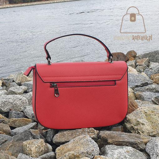 czerwona listonoszka torebka tył