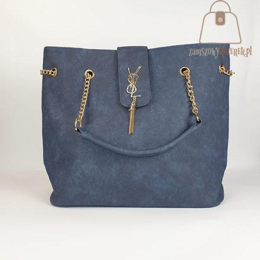Granatowa torebka damska shopper bag