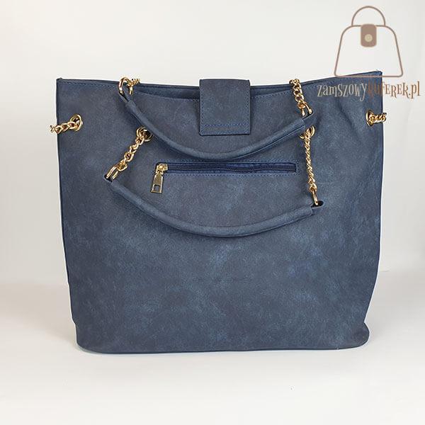 Granatowa torebka damska shopper bag. Torebka shopperka, w kolorze