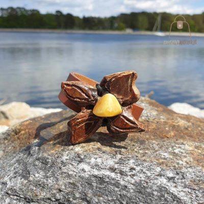 Skórzana bransoletka bursztyn miodowy
