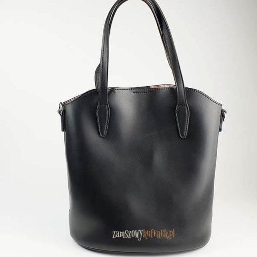 Ażurowana torebka damska z kosmetyczką tył