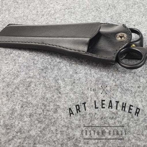 Skórzane etui na barberskie nożyczki bok