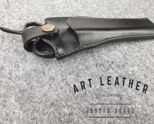 Skórzane etui na barberskie nożyczki bok drugi