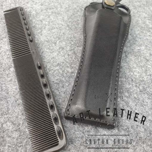 Skórzane etui na barberskie nożyczki detal
