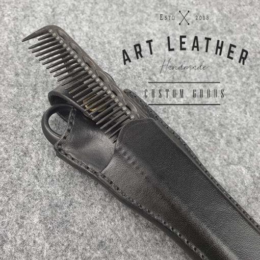 Skórzane etui na barberskie nożyczki grzebien