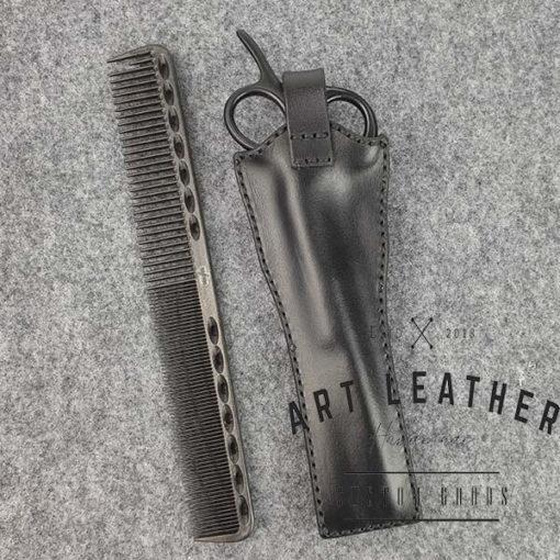 Skórzane etui na barberskie nożyczki tyl