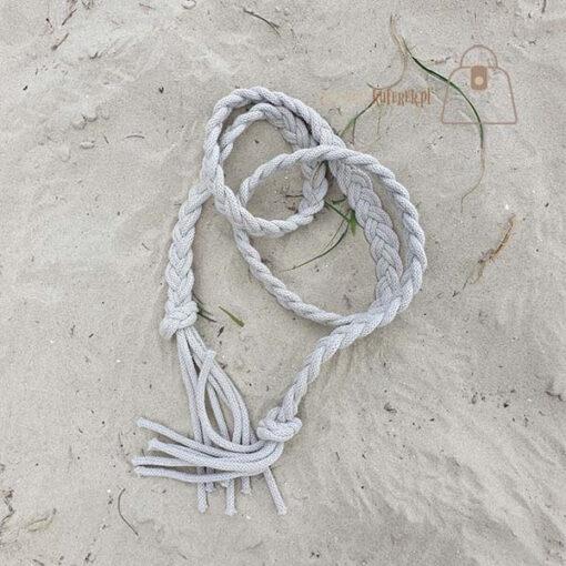 Pasek pleciony sznur beżowy det